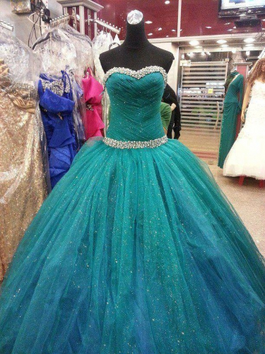 blue ball gown tulle prom dress