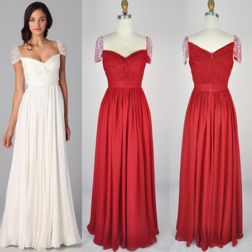 red cap sleeve chiffon prom gown