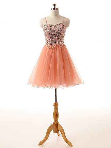 peach pink short prom homecoming dress