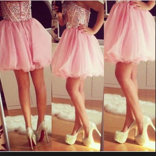 pink short prom homecoming dresses